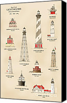 London Drawings Canvas Prints - Lighthouses of the East Coast Canvas Print by Jerry McElroy