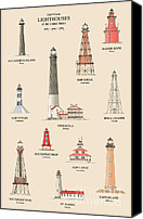 Louisiana Drawings Canvas Prints - Lighthouses of the Gulf Coast Canvas Print by Jerry McElroy