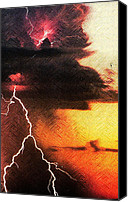 Storm Mixed Media Canvas Prints - Lightning Does the Work Canvas Print by Michael Knight