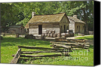 Log Cabin Photographs Digital Art Canvas Prints - Log Cabins at New Salem Illinois Canvas Print by Tad Gage