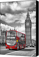 Old Houses Canvas Prints - LONDON - Houses of Parliament and Red Bus Canvas Print by Melanie Viola