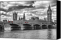 Old Digital Art Canvas Prints - LONDON - Houses of Parliament and Red Buses Canvas Print by Melanie Viola