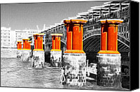 Battersea Canvas Prints - London Thames Bridges Fractals Canvas Print by David French