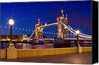 Old Digital Art Canvas Prints - LONDON - Tower Bridge by Night Canvas Print by Melanie Viola