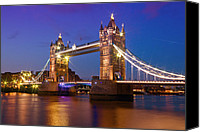 Old Digital Art Canvas Prints - London - Tower Bridge during Blue Hour Canvas Print by Melanie Viola