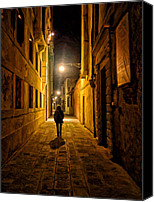 Darkness Painting Canvas Prints - Lonely Walk Home Canvas Print by Michael Pickett