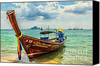 Thai Canvas Prints - Longboat Asia Canvas Print by Adrian Evans