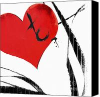 Couples Mixed Media Canvas Prints - Love Ribbons Canvas Print by Anahi DeCanio