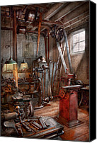 Old Wheel Canvas Prints - Machinist - The modern workshop  Canvas Print by Mike Savad