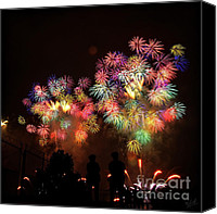 4th July Canvas Prints - Macys July 4th Fireworks New York City  Canvas Print by Nishanth Gopinathan