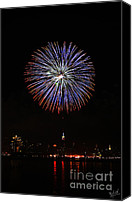 4th July Canvas Prints - Macys July 4th Fireworks over the Empire State Building Canvas Print by Nishanth Gopinathan