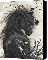 Black Horse Canvas Prints - Majestic Friesian 45 Canvas Print by AmyLyn Bihrle