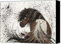 Paint Horse Canvas Prints - Majestic Mustang 57 Canvas Print by AmyLyn Bihrle