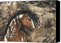 Buckskin Canvas Prints - Majestic Mustang Series 61 Canvas Print by AmyLyn Bihrle
