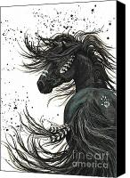 Black Horse Canvas Prints - Majestic Mustang Series 65 Canvas Print by AmyLyn Bihrle