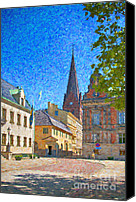 Malmo Digital Art Canvas Prints - Malmo Stortorget Painting Canvas Print by Antony McAulay