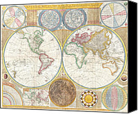 World Map Canvas Painting Canvas Prints - Map Of The World - Circa 1794 Canvas Print by Outsider Fine Art Images -  United States