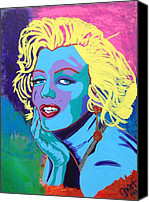 Joe Dimaggio Painting Canvas Prints - Marilyn Monroe Canvas Print by Janice Westfall