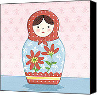 Featured Drawings Canvas Prints - Matryoshka Doll  Canvas Print by Amanda Francey