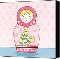 Featured Drawings Canvas Prints - Matryoshka Doll Pink Canvas Print by Amanda Francey