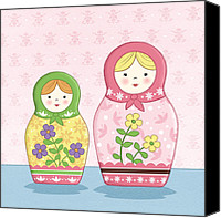 Featured Drawings Canvas Prints - Matryoshka Sisters Canvas Print by Amanda Francey