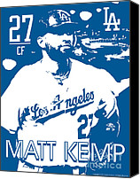 Baseball Drawings Canvas Prints - Matt Kemp Canvas Print by Israel Torres