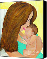 Mothers Day Canvas Prints - May Special - Special First Kiss Canvas Print by Shelia Kempf