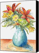 Arrangement Painting Canvas Prints - May Spray Floral Canvas Print by Pat Katz