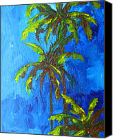 Buy Painting Canvas Prints - Miami Beach Palm Trees in a blue sky Canvas Print by Patricia Awapara