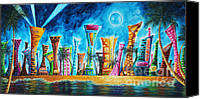 Skylines Painting Canvas Prints - Miami City South Beach Original Painting Tropical Cityscape Art MIAMI NIGHT LIFE by MADART Absolut X Canvas Print by Megan Duncanson