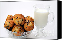 Yummy Food Canvas Prints - Mini Chocolate Chip Muffins And Milk - Bakery - Snack - Dairy - 1 Canvas Print by Andee Photography
