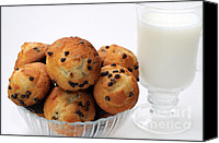 Yummy Food Canvas Prints - Mini Chocolate Chip Muffins And Milk - Bakery - Snack - Dairy - 2 Canvas Print by Andee Photography