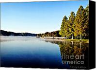 Lake Photo Special Promotions - Misty Morning Canvas Print by Nancy Stein