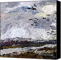 Stormy Mixed Media Canvas Prints - Modern Landscape Paintings Triptych Abstract Mixed Media Art Canvas Print by Ginette Callaway