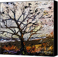 Stormy Mixed Media Canvas Prints - Modern Tree Paintings Triptych Abstract Mixed Media Art Canvas Print by Ginette Callaway