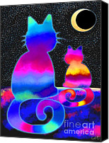 Nick Gustafson Canvas Prints - Moon Star Cats Canvas Print by Nick Gustafson