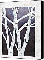 Fiber Art Tapestries - Textiles Canvas Prints - Moonlight Birch Trees Canvas Print by Patty Caldwell