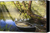Rowboats Canvas Prints - Morning Mists Canvas Print by Debra and Dave Vanderlaan