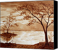 Georgeta Blanaru Canvas Prints - Morning Mountain Lake original coffee painting Canvas Print by Georgeta Blanaru