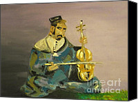 Moroccan Painting Canvas Prints - Moroccan Violin Player Canvas Print by Harry Pity