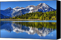 Alpine Canvas Prints - Mt. Timpanogos Reflected in Silver Flat Reservoir - Utah Canvas Print by Gary Whitton