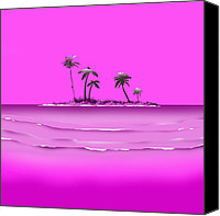Landscapes Digital Art Special Promotions - My Purple Island Home Canvas Print by Peter Stevenson