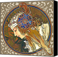 Elena Yakubovich Canvas Prints - My study of an Alphonse Mucha - Byzantine Head. The Blonde. Diagonal frame. Canvas Print by Elena Yakubovich