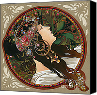 Elena Yakubovich Canvas Prints - My study of an Alphonse Mucha - Byzantine Head. The Brunette. Diagonal frame. Canvas Print by Elena Yakubovich