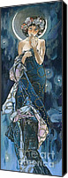 Elena Yakubovich Canvas Prints - My study of an Alphonse Mucha - Moon - Elena Yakubovich Canvas Print by Elena Yakubovich