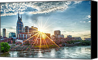 Nashville Skyline Canvas Prints - Nashville Sunburst Canvas Print by Dan Holland