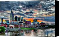 Nashville Skyline Canvas Prints - Nashville Sunset Canvas Print by Dan Holland