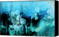 Ann Powell Canvas Prints - nature- flowers - Blossoms in Blue  Canvas Print by Ann Powell
