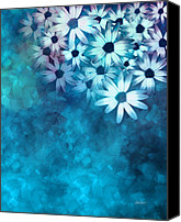 Ann Powell Canvas Prints - nature - flowers- White Daisies on Blue  Canvas Print by Ann Powell