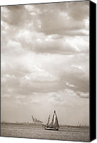 New York Harbor Canvas Prints - Nautical - Sailing in New York Harbor Canvas Print by Gary Heller
